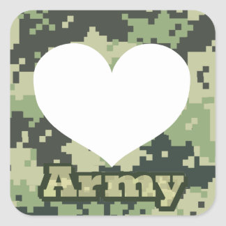 Adesivo Quadrado Adicione seu próprio coração do exército da foto