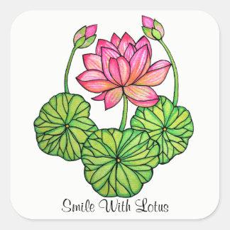Adesivo Quadrado Aguarela Lotus cor-de-rosa com botões & folhas