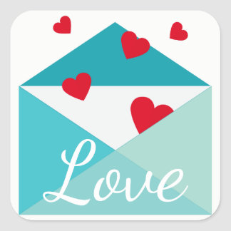 Adesivo Quadrado Amor azul do envelope dos corações vermelhos