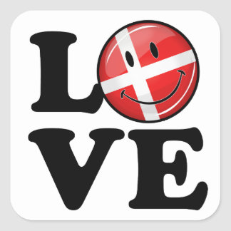 Adesivo Quadrado Amor da bandeira de sorriso de Dinamarca