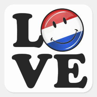 Adesivo Quadrado Amor da bandeira de sorriso holandesa