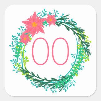 Adesivo Quadrado Aniversário do 90 do 80 do 70 da grinalda 60th das