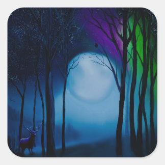 Adesivo Quadrado Arte da floresta da fantasia
