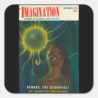Adesivo Quadrado Arte do _11-1951_Pulp da imaginação