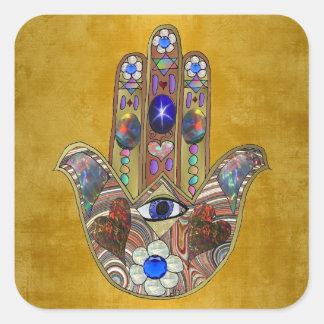 Adesivo Quadrado Arte do Opal das flores dos corações de Hamsa no