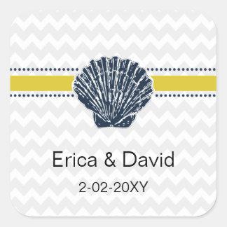 Adesivo Quadrado Artigos de papelaria do casamento do Seashell dos