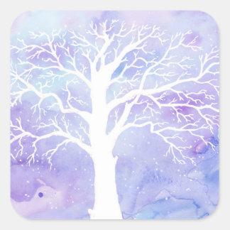 Adesivo Quadrado Árvore do inverno da aguarela na neve