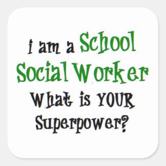 Adesivo Quadrado assistente social da escola