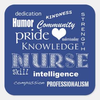 Adesivo Quadrado Atributo-Mirtilo do orgulho da enfermeira