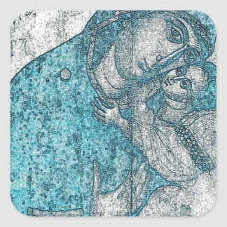 Adesivo Quadrado Azul do vintage do retrato do anjo de Jesus do