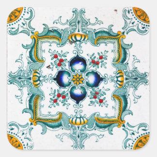 Adesivo Quadrado Azulejo de Nouveau da arte do vintage
