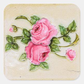Adesivo Quadrado Azulejo floral do rosa do vintage