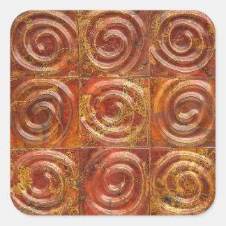 Adesivo Quadrado Azulejos espirais de cobre