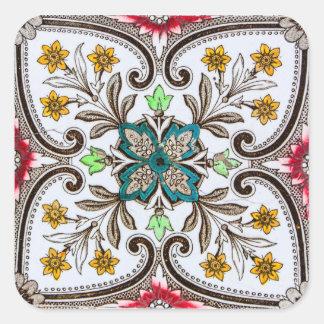 Adesivo Quadrado Azulejos florais de Peranakan