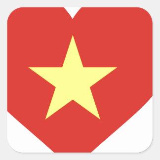 Adesivo Quadrado Bandeira de Vietnam - vàng do sao do đỏ do amor