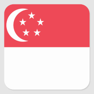Adesivo Quadrado Bandeira nacional do mundo de Singapore