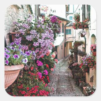 Adesivo Quadrado Becos de Windows, do balcão e da flor em Spello