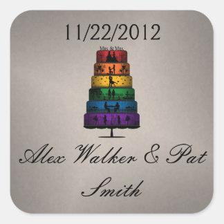 Adesivo Quadrado Bolo de casamento lésbica do orgulho