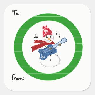 Adesivo Quadrado Boneco de neve que joga a guitarra da rocha