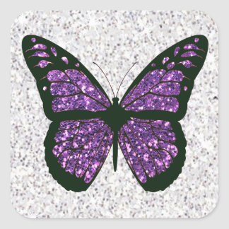 Adesivo Quadrado Borboleta Glittery do falso branco e roxo