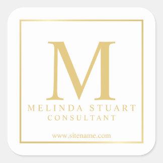 Adesivo Quadrado Branco e negócio elegante do monograma do ouro
