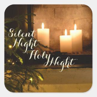 """Adesivo Quadrado """"Canção de natal amado do Natal da noite"""