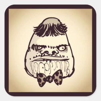 Adesivo Quadrado cara estúpida do troll com desenhos animados