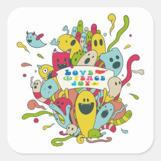 Adesivo Quadrado Caráteres bonitos com mensagem/etiquetas positivas