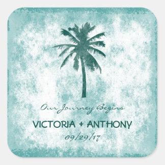 Adesivo Quadrado Casamento de praia tropical da palmeira