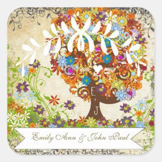 Adesivo Quadrado Casamento Enchanted do ramo lateral da floresta