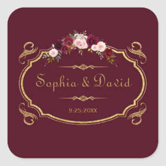 Adesivo Quadrado Casamento outono floral romântico de Borgonha