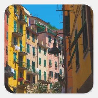 Adesivo Quadrado Casas coloridas em Cinque Terre Italia