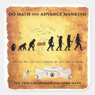 Adesivo Quadrado Cavewoman espertos: Faça a matemática e avance a