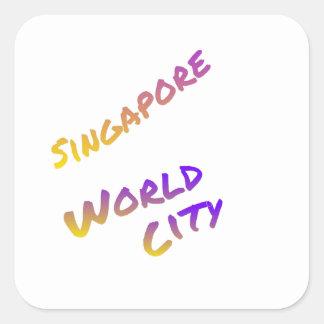 Adesivo Quadrado Cidade do mundo de Singapore, arte colorida do