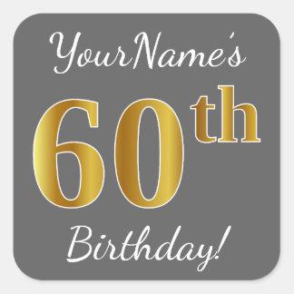 Adesivo Quadrado Cinzas, aniversário do ouro do falso 60th + Nome