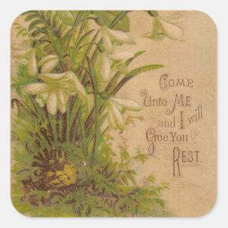 Adesivo Quadrado Citações florais da escritura da oração do vintage
