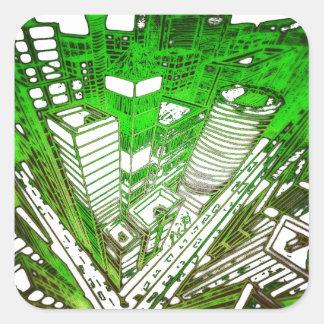 Adesivo Quadrado city em 3 point version perspective special green