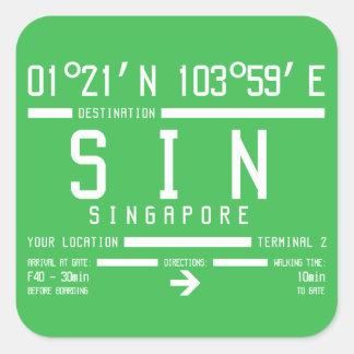 Adesivo Quadrado Código do aeroporto internacional de Singapore