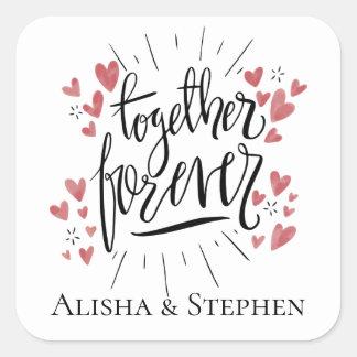 Adesivo Quadrado Corações cor-de-rosa da aguarela junto que Wedding