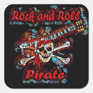 Adesivo Quadrado Crânio do pirata da guitarra do rock and roll