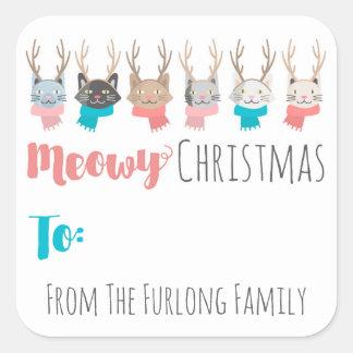 """Adesivo Quadrado De """"gatos do feriado do Natal Meowy"""" feitos sob"""
