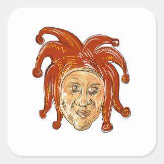 Adesivo Quadrado Desenho da cabeça do bobo da corte da corte
