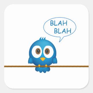 Adesivo Quadrado Desenhos animados azuis do pássaro do twitter