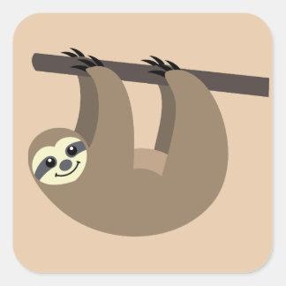 Adesivo Quadrado Desenhos animados bonitos da preguiça