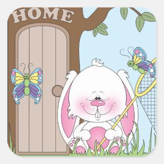 Adesivo Quadrado Desenhos animados do coelho do bebê