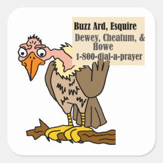 Adesivo Quadrado Desenhos animados engraçados da piada do advogado