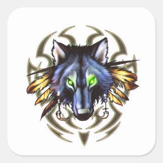Adesivo Quadrado Design tribal do tatuagem do lobo