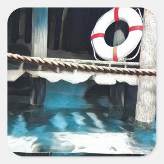 Adesivo Quadrado Doca artística do barco com anel salva-vidas