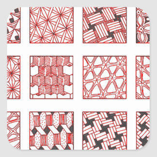 Adesivo Quadrado doodle patterns
