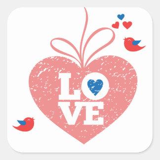 Adesivo Quadrado Dos Lovebirds cor-de-rosa do coração do Grunge do